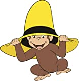 4' Curious George Man in Yellow Hat Monkey Animal Removable Peel Self Stick Adhesive Vinyl Decorative Wall Decal Sticker Art Kids Room Home Decor Girl Boy Children Bedroom Nursery 4 x 4 inches tall