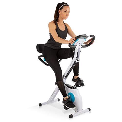 Klarfit Azura Plus Vélo d'exercice 3-en-1 - Fitness Bike, Cardio Training, Entraînement par Courroie, Pulsomètre, 8 Niveaux de résistance magnétique, Blanc