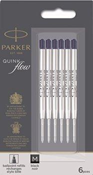PARKER QUINKflow Ballpoint Pen Ink Refills, Medium Tip, Black, 6 Count Value Pack