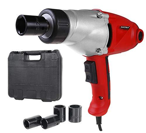 Matrix 120100230 Schlagschrauber Elektro, 1000 Watt, 450 Nm, mit Koffer, 3m Kabel, Reifenwechsel Auto, rot, schwarz