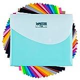 HTV Heat Transfer Vinyl: 20 Pack 12' x 10' Iron-on Sheets – 2 black,...