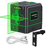 Green Laser Level Rechargeable laser levelling 520nm Lowes Self-Leveling Cross-Line laser Horizontal,for Picture Hanging/Tile/Wall/Ceiling, Class 2,Less Than 1MW, 321G (White-Black)