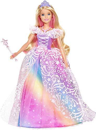 Barbie Dreamtopia poupée Princesse de Rêves avec robe brillante à motifs arc-en-ciel, fournie avec brosse et accessoires, jouet pour enfant, GFR45