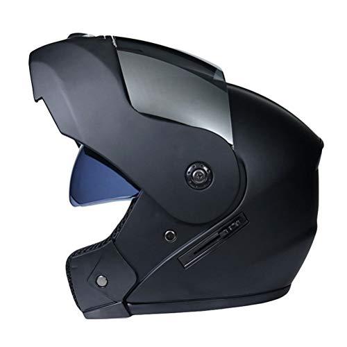 Motorradhelm Integralhelm Atmungsaktiv Winddicht Regenfest Sturz Helm mit Einstellbar Sonnenblende (Matt-schwarz   Silberlinse, Black)