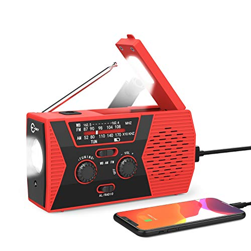 Solar Hand Crank Self Powered Emergency Radio with LED Flashlight and 2000mAh Power Bank