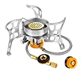 SEENER Portable Camping Stoves Backpacking Stove with Piezo Ignition 360°Windproof Camp Stove for Outdoor Camping Hiking Cooking(Includes Fuel Canister Adapter)