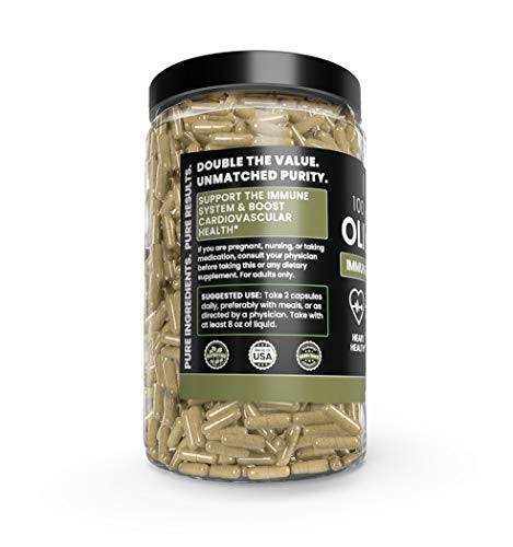 Olive Leaf, 1 Year Supply, 730 Capsules, 940mg, No Magnesium or Rice Filler, Non-GMO, Antioxidant, Gluten-Free, 20% Oleuropein, Made in USA, Undiluted Olive Leaf with No Additives 6