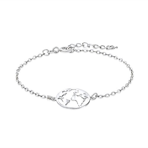 WANDA PLATA - Bracelet carte du monde pour femmes et jeunes filles en...