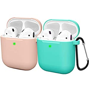 AirPods case: Compatible with apple airpod 2 and 1 (2 Pack) Protect airpods prevent bumps and scratches Easy installation, free Carabiner, Front LED is Visible when charging Made from high quality elastic silicone, smooth surface, dustproof What you ...