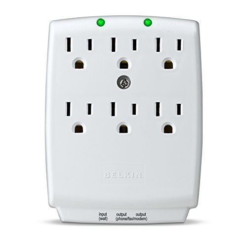 Belkin 6-Outlet SurgeMaster Wall-Mount Surge Protector, 1045 Joules (F9H620-CW), Discontinued by Manufacturer