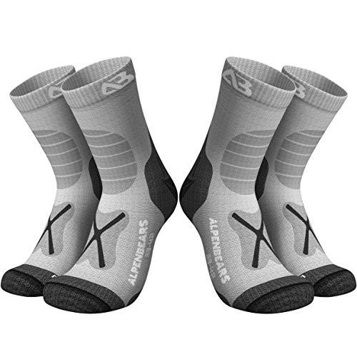 Premium Wandersocken aus Merino Wolle - [2 Paar] - Profi Trekkingsocken zum Wandern - Outdoor Socken für Damen, Herren & Kinder - Warme Merino Wandersocken - Funktionssocken - (Grau, 35-38)
