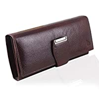 Ideal for Girls & Women. Its height(vertical distance) is 4 inches and length(horizontal distance) is 8.4 inches.Depth(side distance when wallet is closed) is 1.2 inches. 9 card slots,2 id windows, 3 note compartment and 2 zipper pockets Made in REAL...