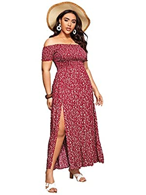 Fabric has some stretch Features: Ditsy floral, plus size, off shoulder, short sleeve, high waist, split, long a line dress Occasions: suitable for summer, daily, vacation, casual, outdoor, holiday, party, etc Machine wash cold gentle, with like colo...