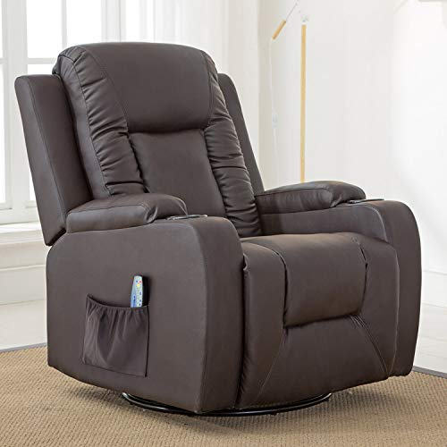 ComHoma Recliner Chair Massage Rocker with Heated Modern PU Leather Ergonomic Lounge 360 Degree Swivel Single Sofa Seat with Drink Holders Living Room Chair Brown