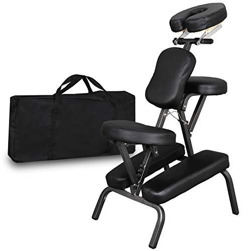 Portable Light Weight Massage Chair Leather Pad Travel Massage Tattoo Spa Chair w/Carrying Bag (#1) (Black)