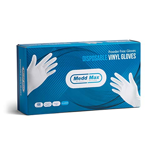 Disposable Vinyl Gloves Powder Free Latex Free Allergy Free Multi-Purpose Heavy Duty Super Strength Cleaning Gloves Food Grade Kitchen Gloves (100)