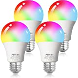 Smart WiFi Alexa Light Bulb, Peteme Led RGB Color Changing Bulbs, Compatible with Alexa, Siri, Echo, Google Home (No Hub Required), E26 A19 60W Multicolor (4 Pack)