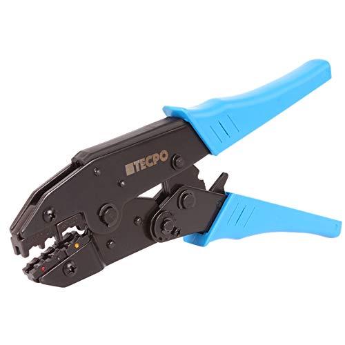 TECPO Kabelschuhzange mit Ratschenfunktion Crimpzange Quetsch Zange 0.5-6 mm² Kabelschuhe Presszange Zange für isolierte Verbinder
