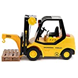 Forklift Truck with Pallet & Cargo – Friction Powered Wheels & Manual Lifting Control - Heavy Duty Plastic Lifting Vehicle Toy for Kids & Children by Toy To Enjoy