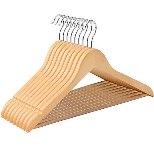 SONGMICS CRW001-10 - 10 grucce appendiabiti con bordi antiscivolo e ganci girevoli a 360, in legno,...