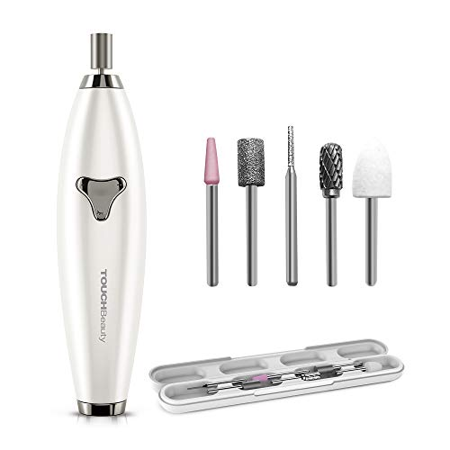 TOUCHBeauty Electric Nail File Drill Rechargeable 6in1 Manicure Pedicure set for Natural Acrylic Nails Long Press 5s Turn on, ±360° Dual-ways Rotation Travel Set 1733