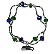 Officially licensed product licensee: Siskiyou buckle Team colored crystals and chrome Helix beads strung on a stretch cord for an easy and comfortable fit The bracelet has 2 strands of beads joined by the charm that intertwine for a unique bangle st...