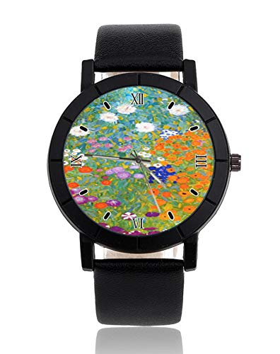 Flower Garden by Gustav Klimt, orologio da polso vintage con cinturino in pelle e motivo floreale