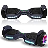 Newest generation electric hoverboard dual motors two wheels hoover board smart self balancing scooter with built in speaker LED Lights For adults kids gift (-New Chrome Black)