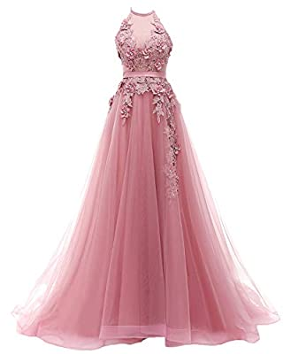 Features: beautiful appliques, a line puffy tulle skirt,halter, and adjustable corset back. Size:please carefully check our size chart image(not amazon size chart link),or send us your detailed measurements by email(bust,wasit,hips,shoulder width,sho...