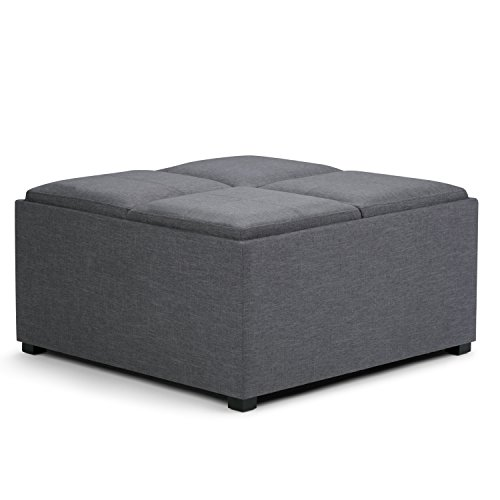 SIMPLIHOME Avalon 35 inch Wide Square Coffee Table Lift Top Storage Ottoman, Cocktail Footrest Stool in Upholstered Slate Grey Linen Look Fabric for the Living Room, Contemporary