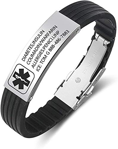 Personalised Medic Alert Bracelet for Women - Silicone Band Emergency Medical Mens Bracelets -Official ID Wristband with Medical Alert Badge - Customised Engrave ID Text Health Informaiton Bracelet
