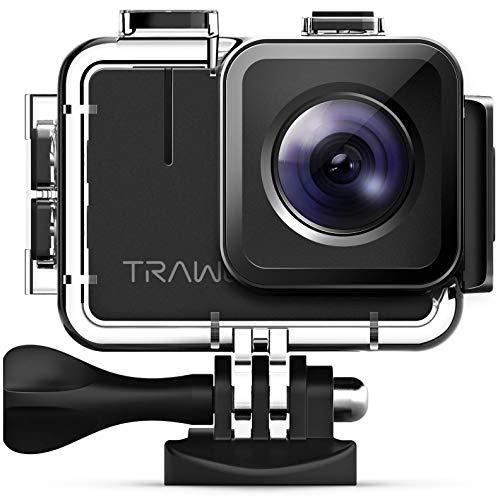 APEMAN TRAWO Action Cam A100, Nativo 4K/50FPS 20MP WiFi Impermeabile 40M Fotocamera Subacquea Digitale, Avanzato Sensore Super EIS Stabilizzata Videocamera, 2'' IPS Screen con 2 1350mAh Batterie