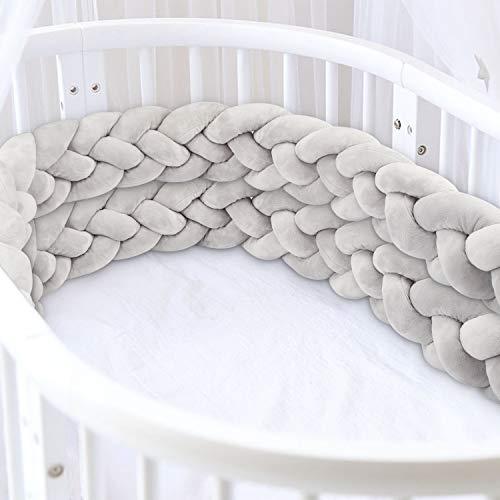 Luchild Bettumrandung Babybett Länge 2.2m Baby Nestchen Bettumrandung Weben Geflochtene Stoßfänger Dekoration für Krippe Kinderbett (Grau)