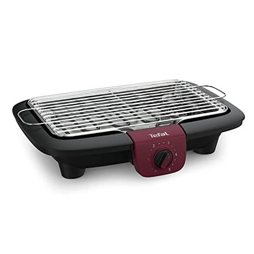 Tefal Easygrill BG90E5 Adjust Barbecue électrique de table, 2300W, surface de cuisson: 720cm², nettoyage facile, noir / bordeaux