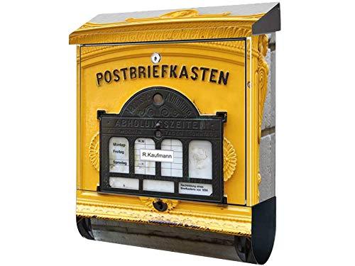 SLK Design Motiv Bild Briefkasten mit Zeitungsfach XXL Premium Alter Briefkasten GELB mit Zeitungsbox A4 Einwurf Rostfreier Stahl