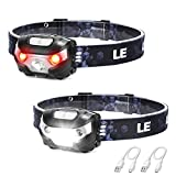 LE LED Headlamp Rechargeable, Super Bright, 5 Modes, IPX4 Waterproof, Adjustable and Comfortable Headlamp Flashlights for Adults and Kids, 2 Pack
