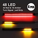 Partsam 4Pack 48LED Motorcycle Tailgate Turn Signal Light 8 Amber/Red Flexible Universal LED Strip Light for Tail Brake Stop LED Light for Motorcycles Cars ATVs Scooters
