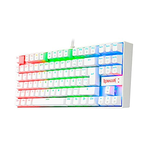 Redragon K552RGB Kumara White - Teclado Gaming Mecánico - Tenkeyless - Interruptores Rojos - Reforzado - Retroiluminado RGB - Distribución Española - Color Blanco- PC Windows Compatible