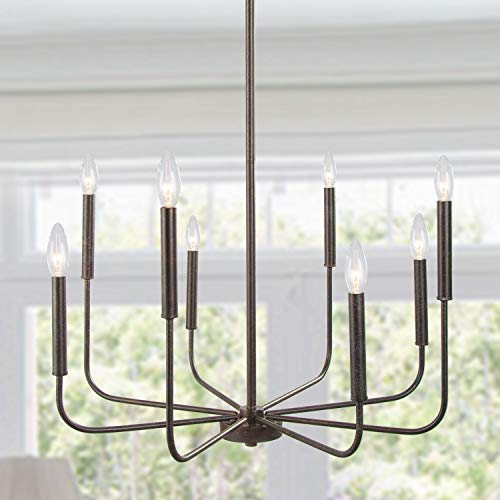 LALUZ Chandeliers, Dining Room Lighting Fixtures Hanging, Chandelier Light Fixture with Dark Brown Speckled Finish,...