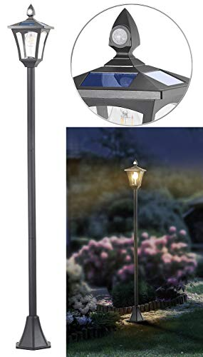 Royal Gardineer Solar Gartenlampe: Solar-LED-Gartenlaterne, PIR-Sensor, Dämmerungssensor, 300 lm, 160 cm (Solarlaterne mit Dämmerungssensor)