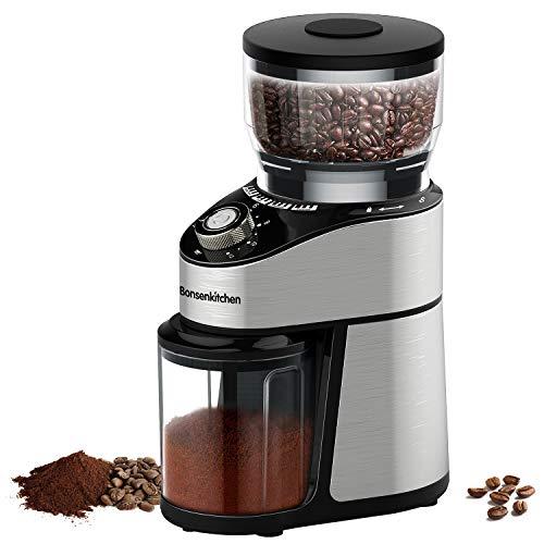 Bonsenkitchen Macinacaff elettrico in acciaio inox, Macinino Caffe con 230g di Chicchi, grado di...