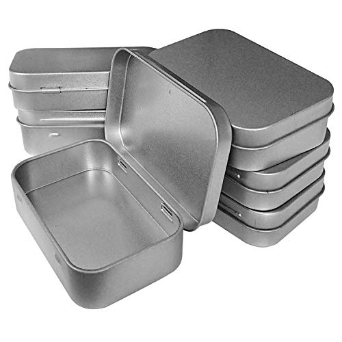 Hulless 12 Pcs Metal Hinged Tin Box Container Mini Portable Small Storage Container Kit Tin Box Container, Small Tin with Lid, Craft Container, Tin Empty Box, Home Storage 3.7x2.3x0.8 inch.