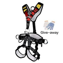 HEEJO Climbing Harness, Full Body Safety Harness Safe Seat Belt for Outdoor Tree Climbing Harness, Mountaineering Outward Band Expanding Training Caving Rock Climbing Rappelling