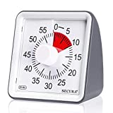 Secura 60-Minute Visual Timer, Classroom Countdown Clock, Silent Timer for Kids and Adults, Time Management Tool for Teaching (Dark Gray)
