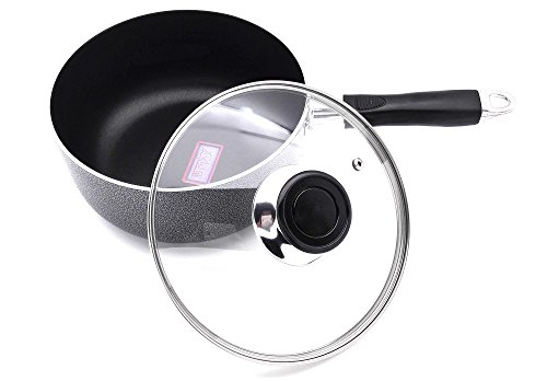 Non-Stick Aluminum Sauce Pan With Glass Lid,Xylan Coating,3.5 QT