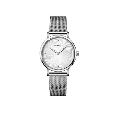 Wenger Damen Analog Quarz Uhr mit Edelstahl Armband 01.1721.107