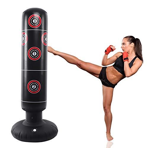 LncBoc Saco de Boxeo 160 cm, Saco de Boxeo de pie para un Rebote...