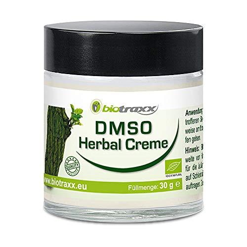 Biotraxx DMSO ( Dimethylsulfoxid ) Herbal Creme 30g - Hochwirksame Creme mit hohem Anteil an DMSO und Magnesiumöl sowie 17 Heilkräuter