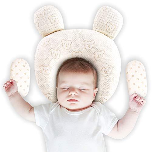 Upchase Oreiller Bébé, Coussin Bébé, Afin de Prévenir le Syndrome de Tête Plate, Coussin Orthopédique Pour Les Nourrissons, (2 Coton Taies d'Oreiller), Oreiller de Latex Naturel Pur Est Plus Sûr