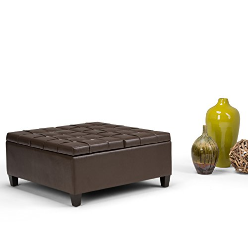 SIMPLIHOME Harrison 36 inch Wide Square Coffee Table Lift Top Storage Ottoman, Cocktail Footrest Stool in Upholstered Chocolate Brown Tufted Faux Leather for the Living Room, Traditional